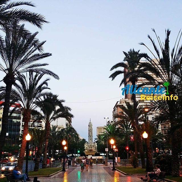 Plaza de los Luceros in der Dämmerung. #abends #dämmerung #straßenlaternen #costablanca #palmen #spanienurlaub